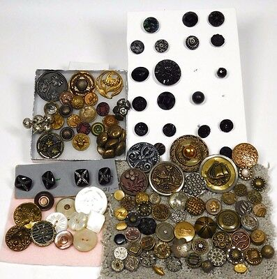 125 ANTIQUE Vintage BUTTONS LOT of Victorian Brass Pearl Metal PICTURE, more