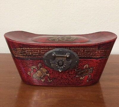 Vintage Chinese Pillow Red Lacquered Wood Jewelry/Trinket Box Writing Inside