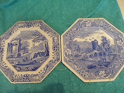 Two Beautiful  Spode  Blue & White Plates. With Hanging Brackets