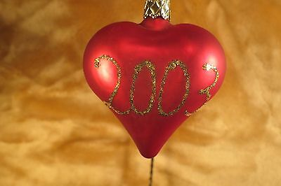 2003 Red Heart Valentines New Retired Glass Christmas Ornament
