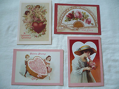 Set of 12 Victorian Valentine Post Cards, 4 Diff. Designs, Current, Inc. 1991