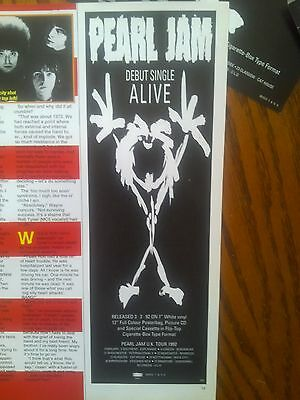 Pearl Jam Half Page Advert For Single Alive 1992 Eddie Vedder