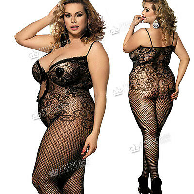 Plus+ Hen Party Lingerie Fishnet Ladies Catsuit Body Stockings Corset Ribbon Bow