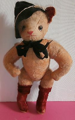 charming antique c1900  stuffed *PUSS' N  BOOTS CAT* /gold mohair /glass  eyes