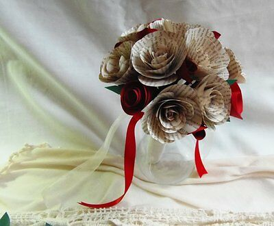 Bouquet of Book Roses with Red Roses, Wedding Flowers or Anniversary Gift