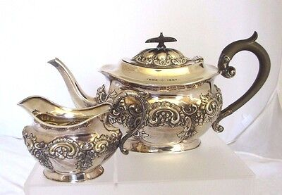 Antique Fenton Brothers England Sterling Silver Teapot and Creamer