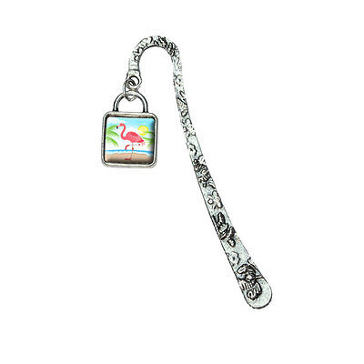 Flamingo and Palm Tree Beach Vacation Book Bookmark with Square Antiqued Charm