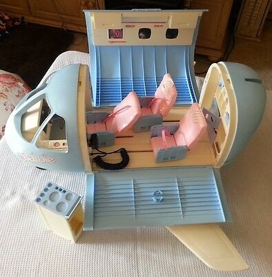 Mattel 1999 Vintage Barbie Airplane / Jet Playset Blue w/Sound & Beverage Cart