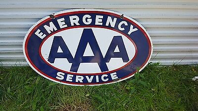 Original AAA Emergency Service Gas Station Porcelain Towing Sign 24 × 36 inches