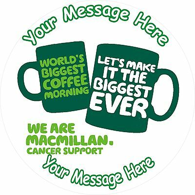 "Macmillan Cancer Support Coffee Morning 7.5"" Round Icing Cake Topper"