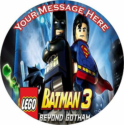 "Lego Batman 3 Beyond Gotham Round 7.5""  Cake Topper Icing Or Ricepaper"