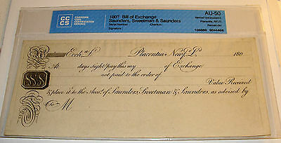 1800's Newfoundland Bill Of Exchange Cccs Certified Au-50