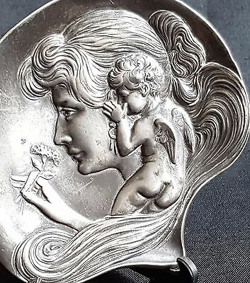 Beautiful Art Nouveau Type Cast Pewter Pin Dish Winged Putti Whispering In Ear