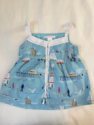 Janie And Jack Blue Seaside Sleeveless Swing Top Worn Once Sz 2T