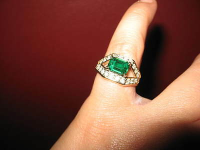 Vintage 7 bold green faux emerald multiple rhinestones CZ 18K gold filled ring