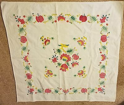 Vintage Apples , Leaves, Flowers Print Colorful Tablecloth