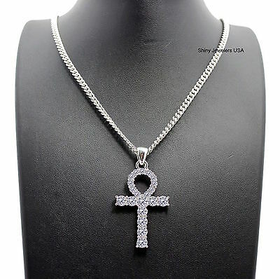 New Iced Out Egyptian Ankh Cross Pendant Cuban Chain Necklace Hip Hop
