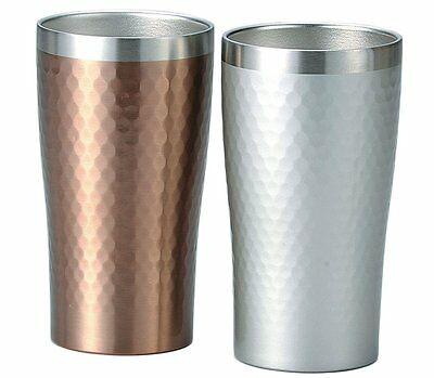 Japan Luxe 2 Pair Set Metal Thermo Tumbler 340ml Beer Whiskey Cocktail Coffee