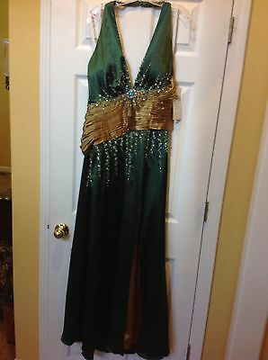 Princess Collection Green/olive Formal Full Length Dress Size 16 New