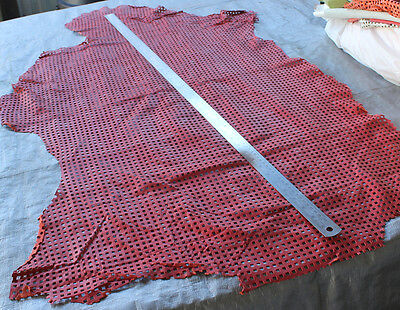 Coral Red Leather Perforated Hides Av 4.5 Sq ft (Price reduced to clear)