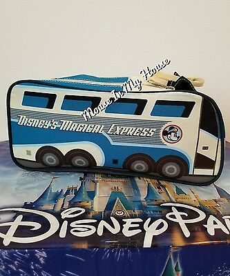 Disney Parks TAG MICKEY MAGICAL EXPRESS BUS Toiletry Bag Cosmetic Travel Pouch!