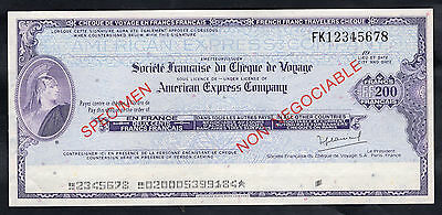 USA-FRANCE 200 Francs AMERICAN EXPRESS Specimen Travellers Cheque