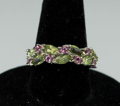 10k SOLID WHITE GOLD LADIES RING w/ PINK TOPAZ & PERIDOT Size 6.5 - NR
