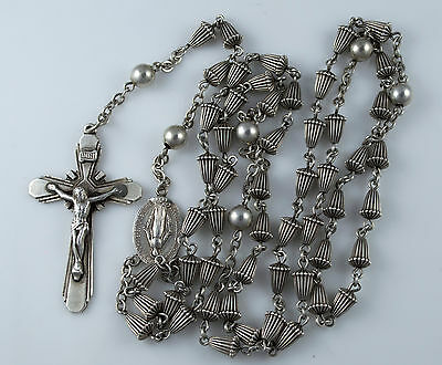 VINTAGE STERLING SILVER ROSARY with SILVER BEADS - NR