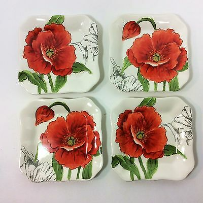 New!! Maxcera Set Of 4 Red Poppy Appetizer Snack Plates Or Coasters #1