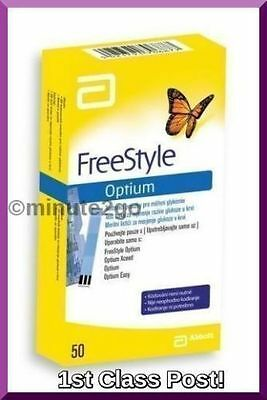 2 x FreeStyle Optium Plus Blood Glucose Test Strips x50 BRAND NEW - 100 Strips