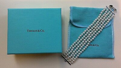 New Tiffany & Co 5-Strand Pearl Bracelet with Sterling Silver Lobster Claw Clasp