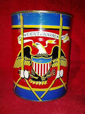 Vintage Chase and Sanborn Patriotic Centennial Coffee Can Tin Red White Blue 2lb