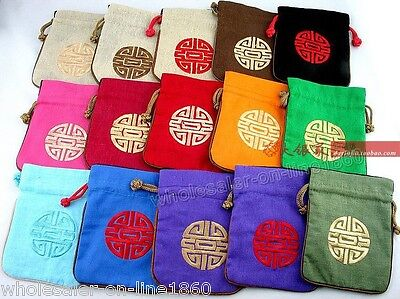 Wholesale 10PCS HANDMADE EMBROIDERED FLAX JEWELRY ROLLS Pouchs /purses/WALLETS