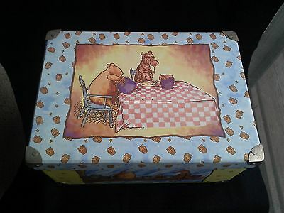 Disney Classic Pooh Honey Pots Large Storage Box Yellow Blue Paper metal