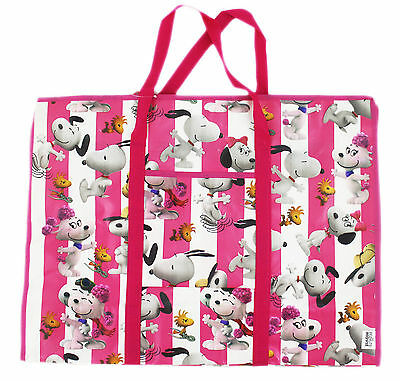 New Large Tote Bag Peanuts Snoopy Reusable Grocery Shopping Bag #58-pink