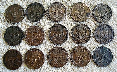 30 Different Swedish 2 Ore Coins  1901-1950