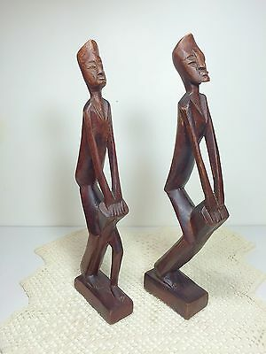 Vintage Pair African Carved Wood Figurine Statue Tribal Drummer Drum Primitive