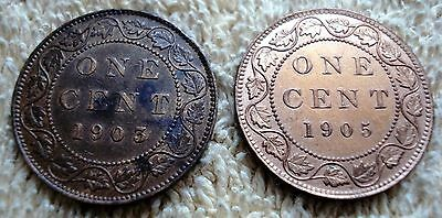 2 Canadian Large Cents XF
