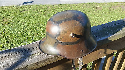 WW1 WWI German Camo Helmet,M17,Stahlhelm,Steel,Liner,Original,Camouflage,Trench