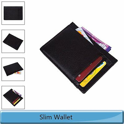 Mens Genuine Leather Mini Wallet Money Case Slim Credit Card Holder Purse Pocket