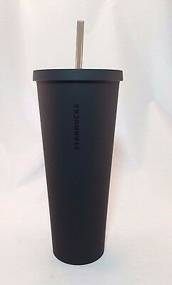 STARBUCKS Black Matte 24oz Acrylic Cold Cup Tumbler MINT condition With Straw
