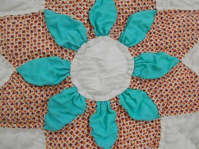 A+ Vintage Antique 1930 TEAL TEXAS DAISY FLOWER STAR HAND STITCHED Quilt 85X78