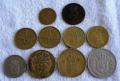 20 Different Danish Coins  1856-1966