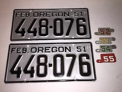 Oregon Or License Plate Pair Set Near Mint Tabs 1951 52 53 54 55 Rare Restored