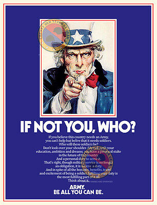 1980's Uncle Sam US Army Recruiting Poster