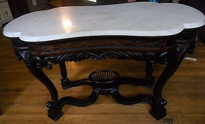 Antique Meeks Victorian Rococo Rosewood Marble Top Parlor Center Table PICK UP!