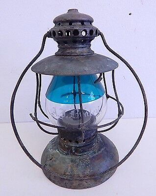 Antique Rare Presentation Green Railroad Yacht Personalized Cased Glass Lantern