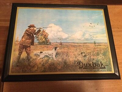 Vintage Advertising Sign-Utica Guns- Duxbak Corp.-Vintage Hunting Sign With Dog