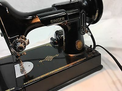 Vintage 1952 Singer Featherweight 221 Sewing Machine Case Pedal Accessories Usa