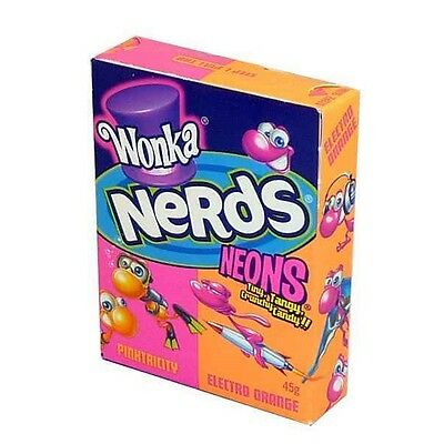 Bulk Lolly 6 x Wonka Nerds Neons Pinktricity Electro Orange 45g Candy Buffet